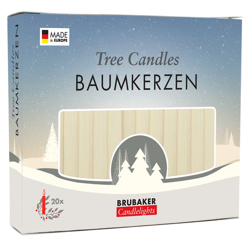 BRUBAKER Christmas Tree Candles for Pyramids Angel Chimes - Champagne - Pack of 20 in a Gift Box