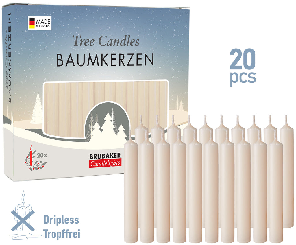 BRUBAKER Christmas Tree Candles for Pyramids & Chimes - Champagne - Pack of 20 in a Gift Box