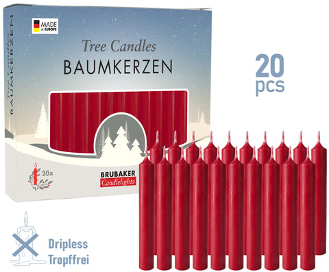 BRUBAKER Christmas Tree Candles for Pyramids & Chimes - Dark Red - Pack of 20 in a Gift Box
