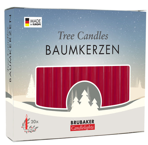 BRUBAKER Christmas Tree Candles for Pyramids Angel Chimes - Dark Red - Pack of 20 in a Gift Box