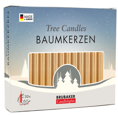 BRUBAKER Christmas Tree Candles for Pyramids Angel Chimes - Golden - Pack of 20 in a Gift Box