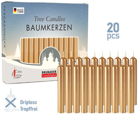 BRUBAKER Christmas Tree Candles for Pyramids & Chimes - Golden - Pack of 20 in a Gift Box