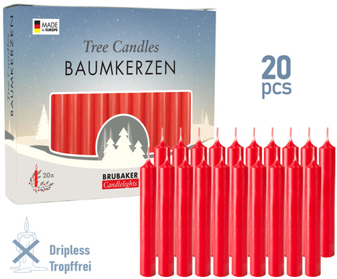BRUBAKER Christmas Tree Candles for Pyramids & Chimes - Red - Pack of 20 in a Gift Box