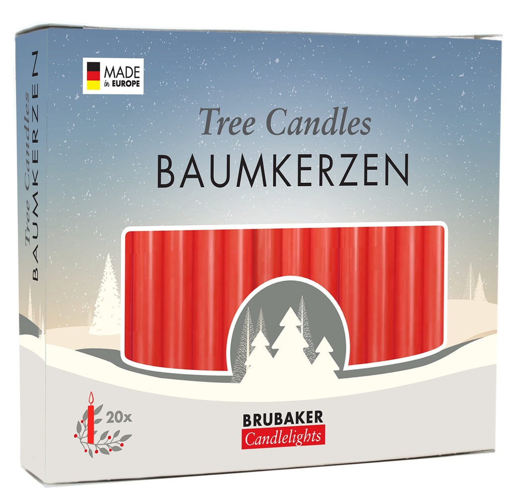 BRUBAKER Christmas Tree Candles for Pyramids Angel Chimes - Red - Pack of 20 in a Gift Box