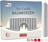 BRUBAKER Christmas Tree Candles for Pyramids & Chimes - Silver - Pack of 20 in a Gift Box
