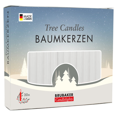 BRUBAKER Christmas Tree Candles for Pyramids Angel Chimes - White - Pack of 20 in a Gift Box