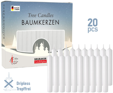 BRUBAKER Christmas Tree Candles for Pyramids & Chimes - White - Pack of 20 in a Gift Box