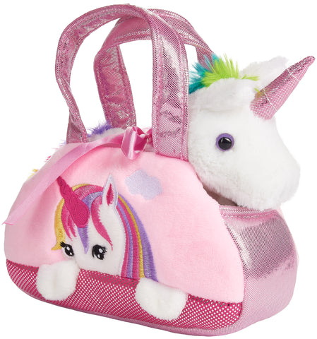 BRUBAKER Rainbow Plush Unicorn in Handbag - 8 Inches - Soft Toy in Bag - Cuddly Toy - Stuffed Animal - Pink