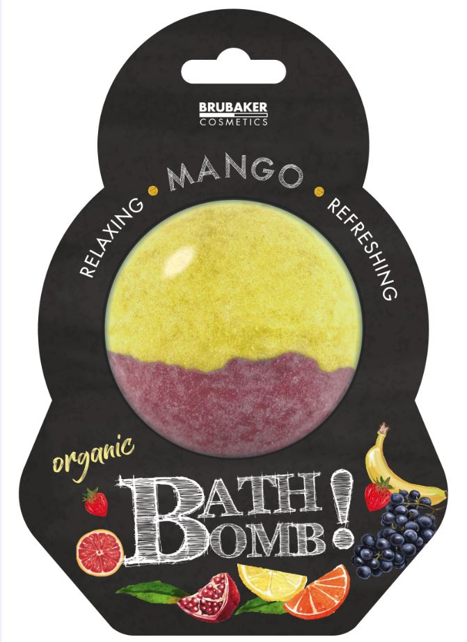 "BRUBAKER Huge Handmade Fizzing Bath Bomb ""Mango"" - Bath Fizzer - All Natural, Vegan, Organic Ingredients"