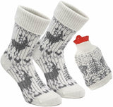 1 Pair of Norwegian Knit Socks with Hot Water Bottle - Gray White - One Size