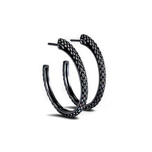 Sceptre Python Signature Hoop in Black Ruthenium (Platinum Alloy) over Solid Sterling Silver