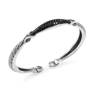 Empire Petite Pavé Cuff in Sterling Silver & CZ Noir