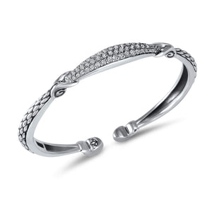 Empire Petite Pavé Cuff in Sterling Silver & CZ Blanc