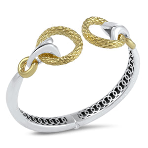 Tryst Rendezvous Torque Cuff Bracelet__Two Tone Sterling Silver with 18K Gold Vermeil