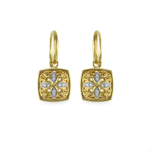 Insignia Pavé Drop Earring in 18K Gold over Sterling Silver & CZ Blanc