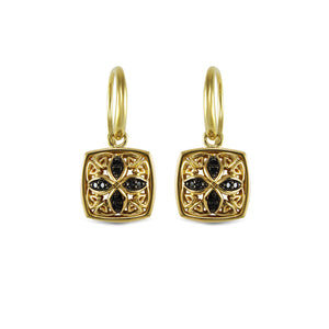 Insignia Pavé Drop Earring in 18K Gold over Sterling Silver