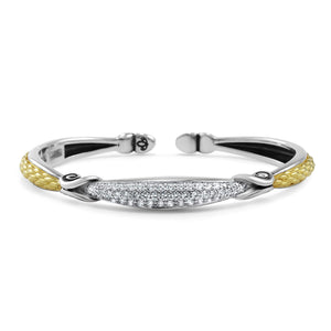 Empire Petite Pavé Cuff in Two Tone 18 Karat Gold over Solid Sterling Silver & CZ Blanc