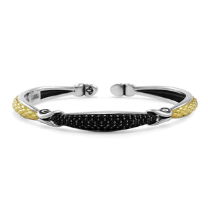 Empire Petite Pavé Cuff in  Two Tone 18K Gold over Sterling Silver & CZ Noir