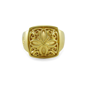 Insignia Signature Ring in 1K Gold over Sterling Silver