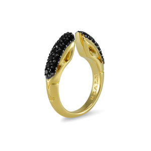 Sceptre Pavé Ring 5.0 in 18K Gold over Sterling Silver & CZ Noir