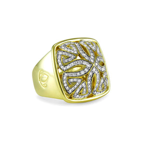 Insignia Délicat Pavé Luxe Ring in 18K Gold over Sterling Silver & CZ Blanc