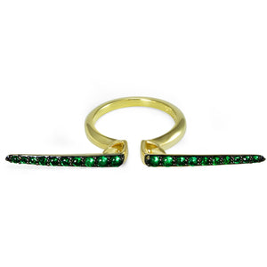 Sceptre Linea Median Ring in 18K Gold over Sterling Silver & CZ Vert