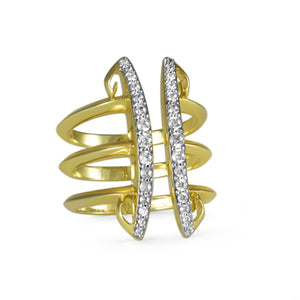 Sceptre Linea Corset Ring 18K Gold over Sterling Silver & CZ Blanc