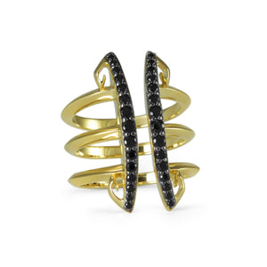 Sceptre Linea Corset Ring in 18K Gold over Sterling Silver & CZ Noir