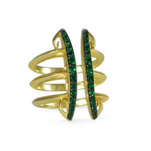 Sceptre Linea Corset Ring in 18K Gold over Sterling Silver & CZ Vert
