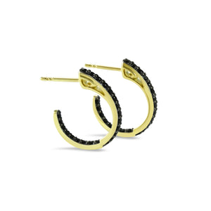 Sceptre Petite Pavé Hoop Earring in 18K Gold over Sterling Silver & CZ Noir
