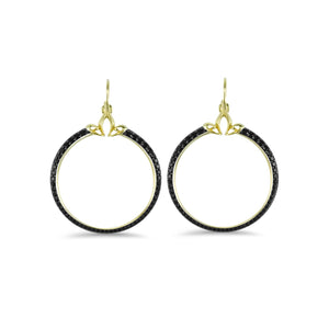 Domain Pavé Portrait Hoop Earring in 18K Gold over Sterling Silver & CZ Noir