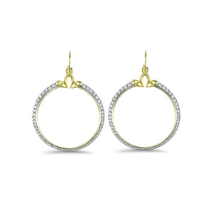 Domain Pavé Portrait Hoop Earring in 18K Gold over Sterling Silver & CZ Blanc