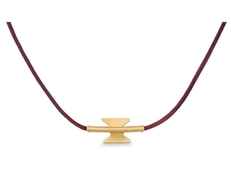 Gold Leather Necklace - Welcome Jewelry - Amarist Studio