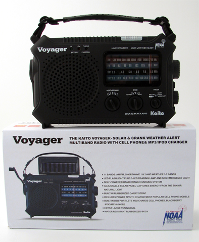 Voyager AM/FM Radio, Solar Cell Charger, Flashlight