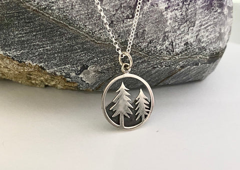 Sterling Silver Tree and Mountain Necklace