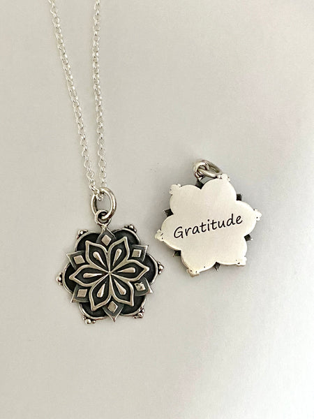 'Gratitude' Affirmation Mandala Necklace