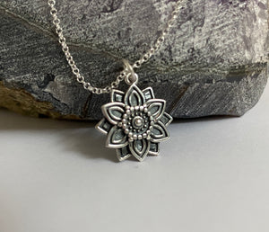 'Abundance' Sterling Silver Affirmation Mandala Necklace