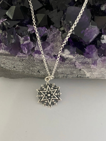 'Inspiration' Silver Affirmation Mandala Necklace