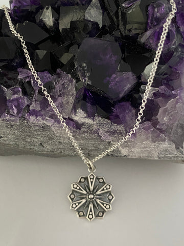 'Courage' Sterling silver affirmation mandala necklace