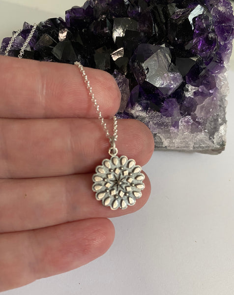 'Resilliance' Sterling silver affirmation mandala necklace