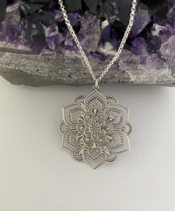 Sterling Silver Openwork Lotus Mandala Necklace