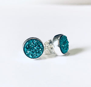 Turquoise Blue Druzy Earrings in Gold or Silver