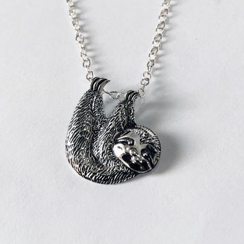 Adorable Sterling Silver Sloth Necklace