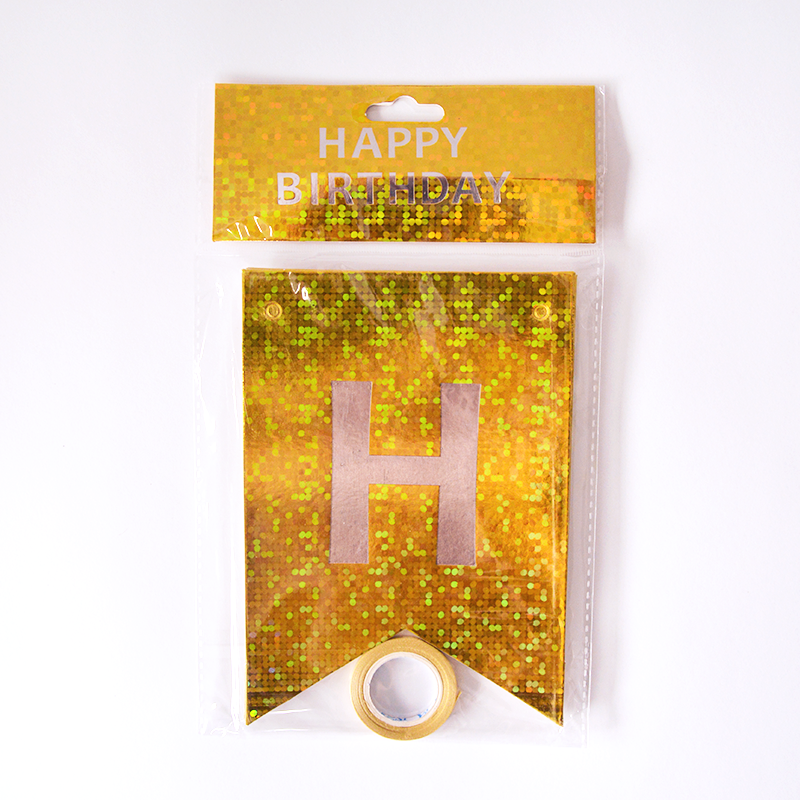 Happy Birthday Holographic Gold Flags Garland
