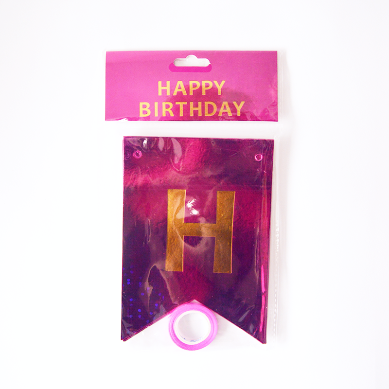 Happy Birthday Holographic Pomegranate Flags Garland