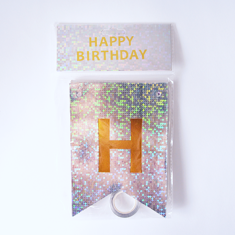 Happy Birthday Holographic Silver Flags Garland