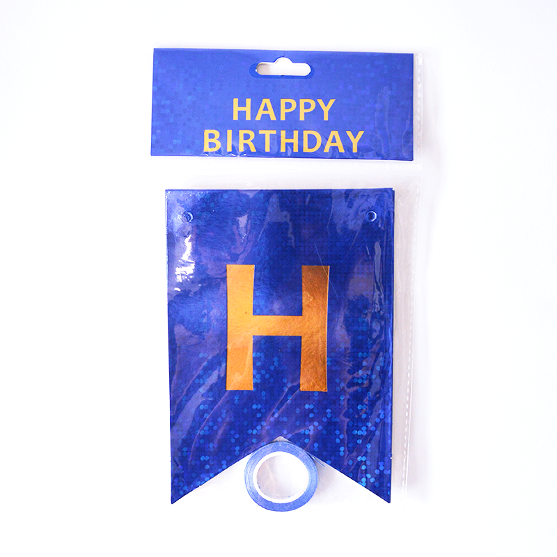 Happy Birthday Holographic Blue Flags Garland
