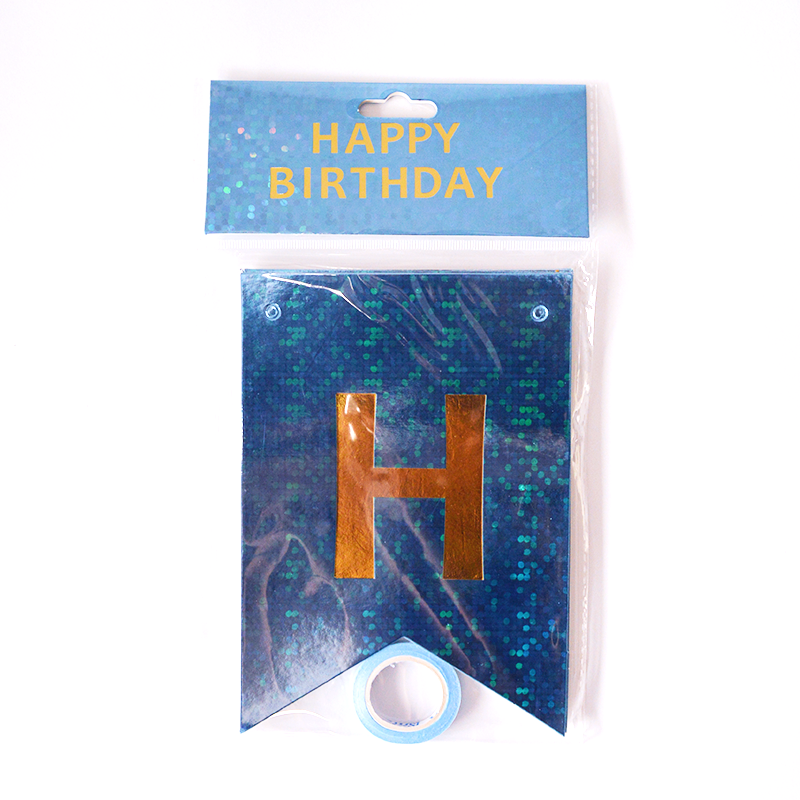 Happy Birthday Holographic Light Blue Flags Garland