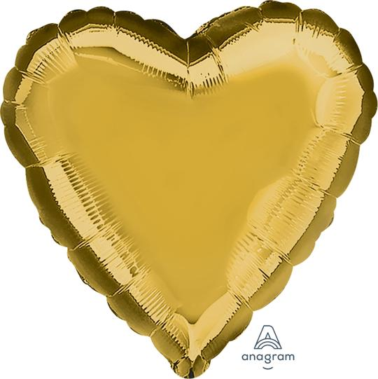 Gold Heart Balloon 18""