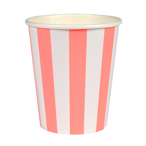 Coral Stripe Cups